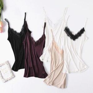 Image 3 - Doğal ipek dantel üst artı boyutu kombinezonlar kadın iç çamaşırı üst femme fanila kadın kaşkorse ipek kaşkorse beyaz halter üst
