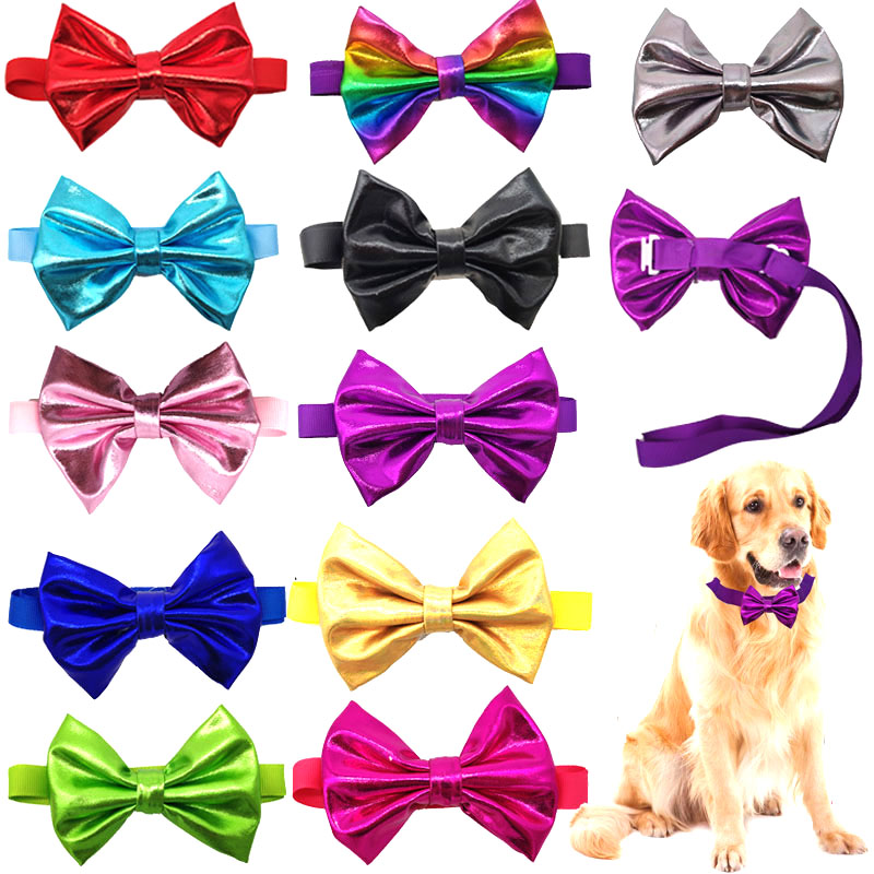 1 Pcs font b Pet b font Dog Bow Tie Colorful Shining Dog Collar Bow Tie