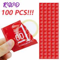 Condones 100 Uds al por mayor condones Ultra finos preservativos de condones de látex natural manga de pene para hombres anticoncepción segura