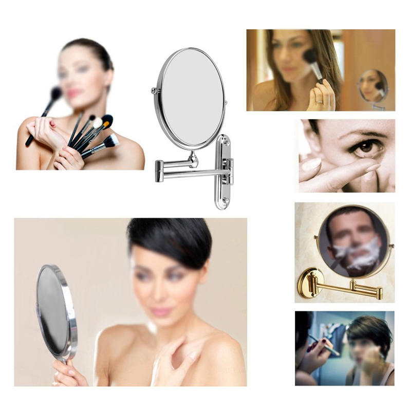 Купить с кэшбэком Silver Extending 8 inches cosmetic wall mounted make up mirror shaving bathroom mirror 7x Magnification