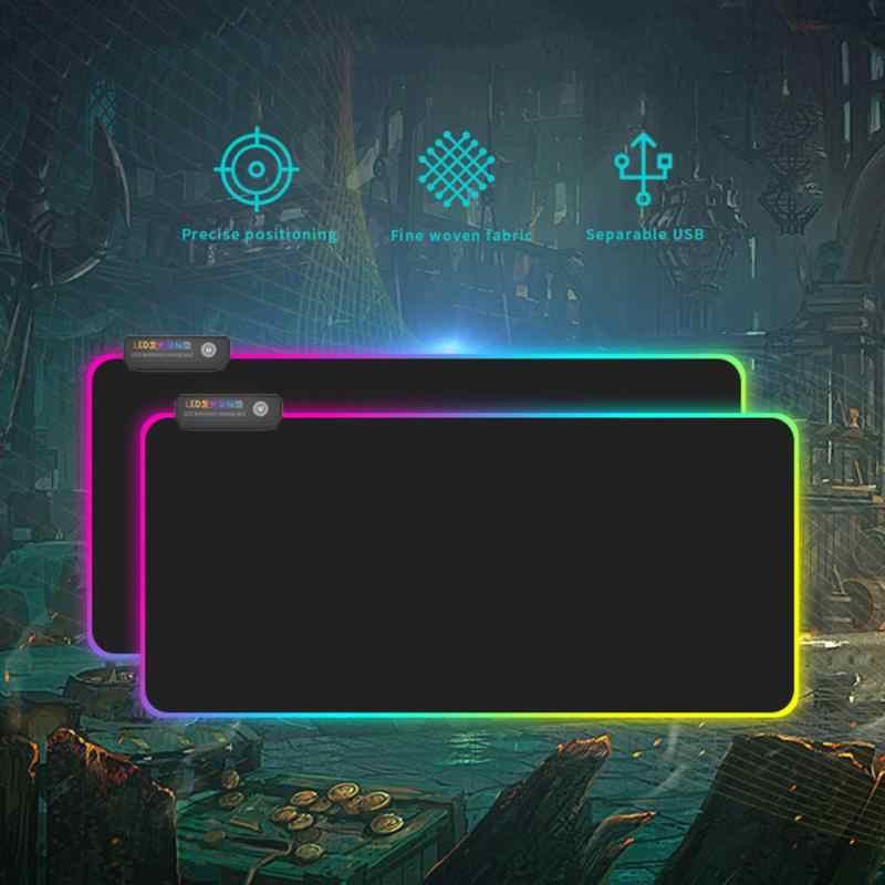 Podkładka pod mysz do gier RGB duża gumowa podstawa oświetlenie LED rozszerzona podkładka pod mysz do gier klawiatura mata antypoślizgowa do komputera PC Laptop