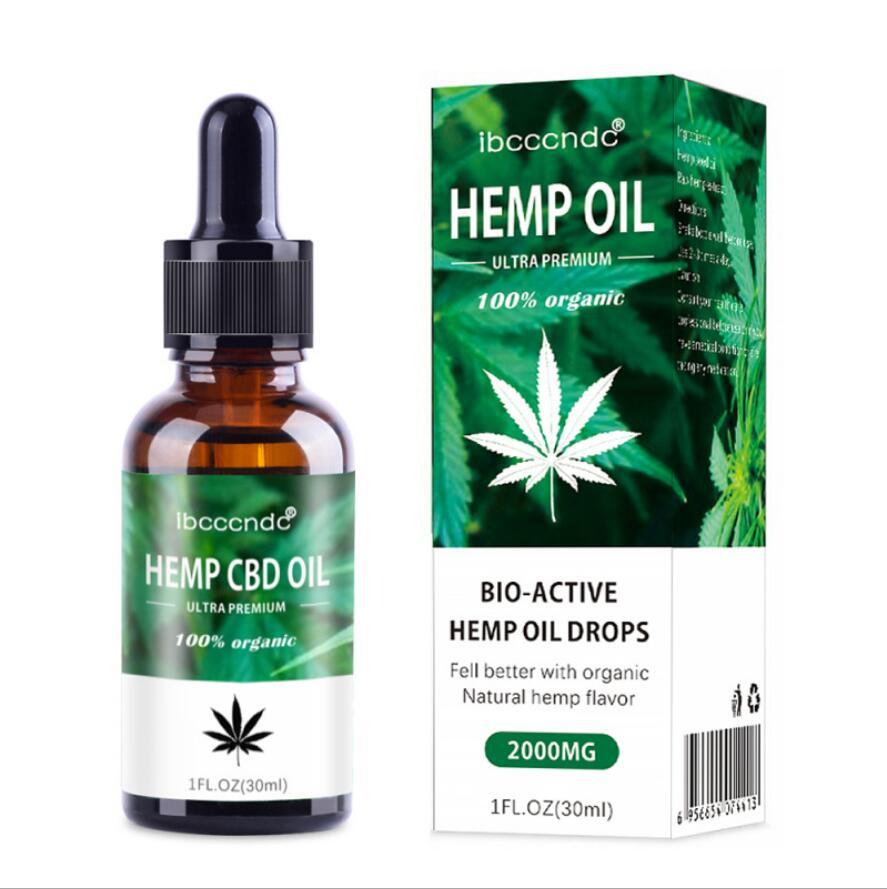 DROP SHIP 30ml Organic Essential Oils Hemp Seed Oil 2000MG Herbal Drops Relieve Stress cbd Oil Facial Body Skin Care Help Sleep