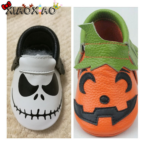 Baby Boys Girls Halloween Winter Warm Skin Shoes Pumpkin Soft Sole Casual Shoes