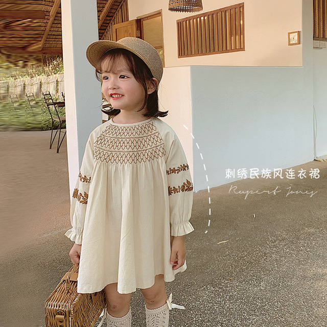 Childrens dress Girls National Style Embroidered Dress 2020 New Spring Fashion Baby  Dress Baby Girl Clothes