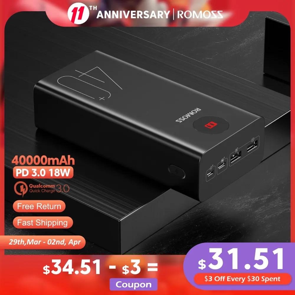 ROMOSS Zeus 40000mAh Power Bank 18W PD QC 3.0 Two-way Fast Charging Powerbank Type-C External Battery Charger For iPhone Xiaomi
