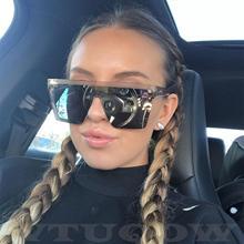 Luxury Flat Top Square Sunglasses Women Men Celebrity Sun Gl
