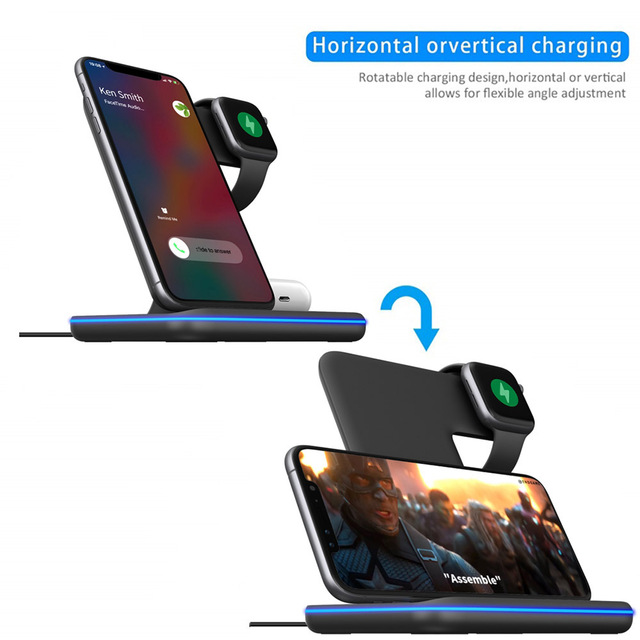 15W 3 in 1 Qi Wireless Charger Stand for iPhone 12 11 XS XR X 8 AirPods Pro Charging Dock Station For Apple Watch iWatch 6 5 4 3 3