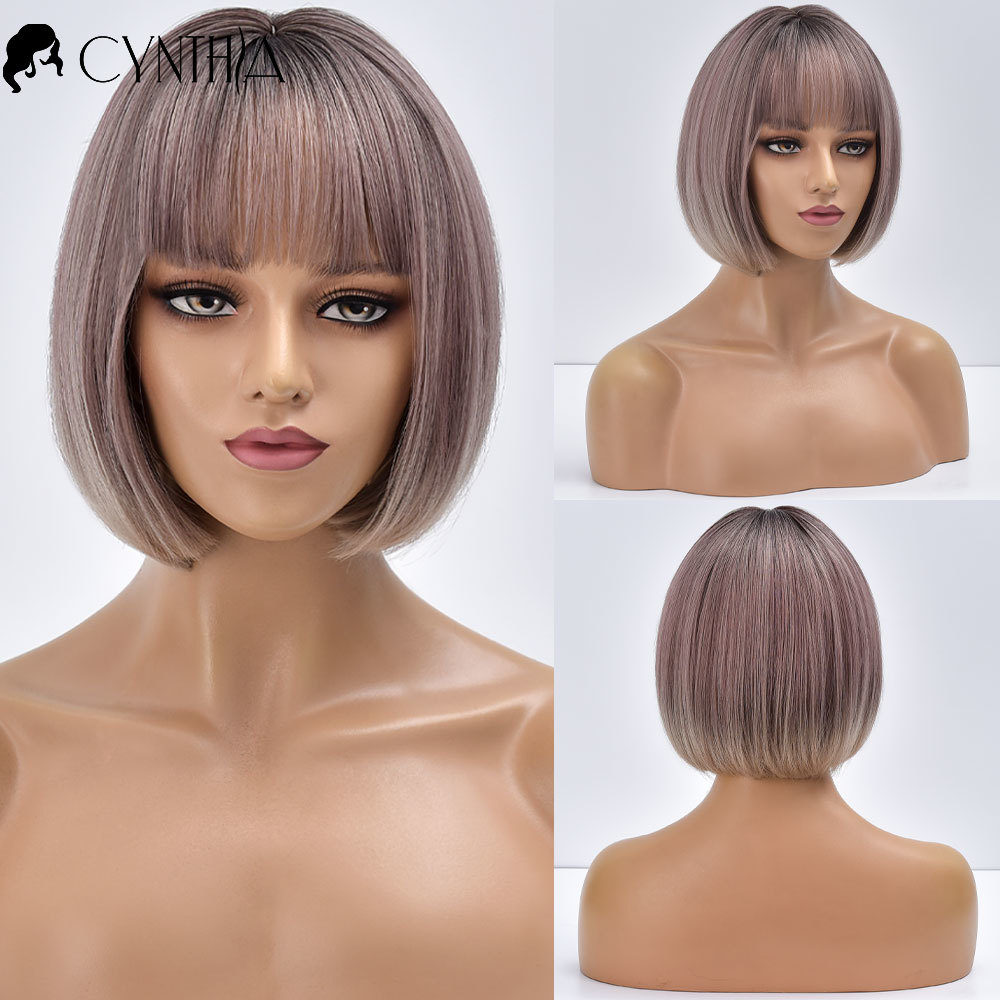 Bob Blonde Short Ombre Straight Brazilian Synthetic Wigs With Bangs For Black White Women Heat Resistant Cosplay Hair Daily Wig
