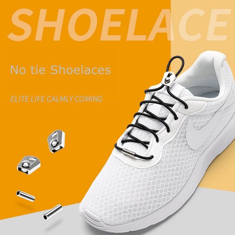 1Pair Sliding Metal Lock Elastic Shoe Laces No Tie Shoelaces Kids Adult Quick Lazy Laces Round Sneakers Shoelace 26 Colors