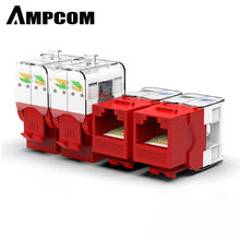 AMPCOM 10-Pack Keystone Jack,  CAT6 Tool-Less RJ45 UTP Keystone Jack, No Punch-Down Tool Required Module Coupler – Red