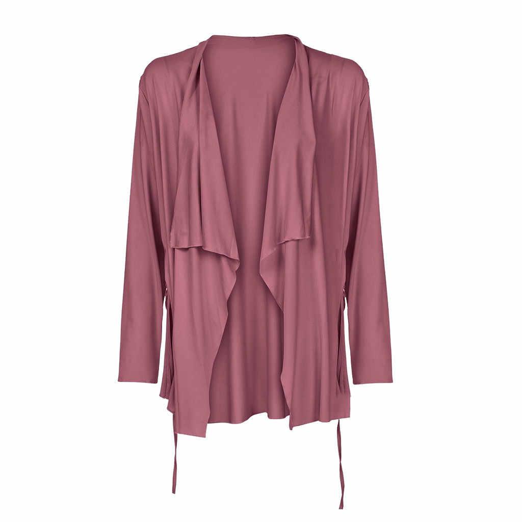 Dames Womens Solid Open Stitch bovenkleding jassen Turn Down Kraag Lange Mouw Dunne Herfst winter Jas Casual campera mujer