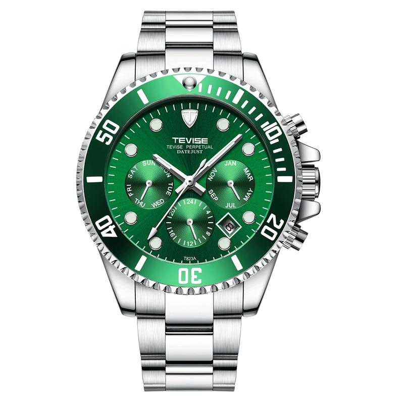 Automático dos Homens Caixa de Presente à Prova Relógios de Pulso Tevise Relógio Relógios Mecânicos Sport Luxuty Marca d' Água Auto Enrolamento Masculino