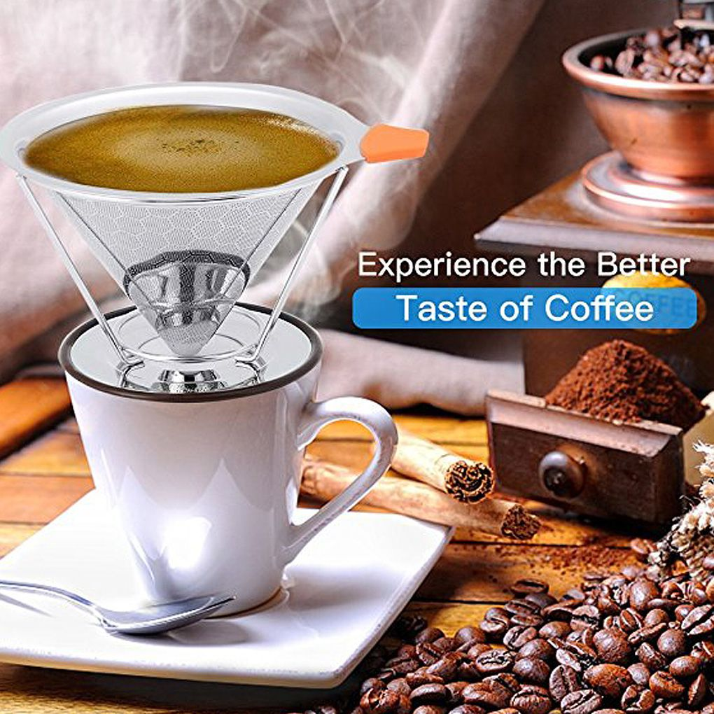 Honeycomb Stainless Steel Coffee Filter Reusable Coffee Filter Cone Dripper Funnel With Removable Cup Stand Brush