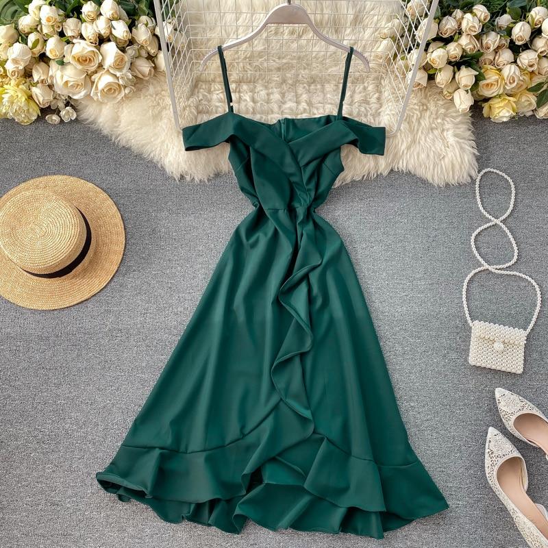 Slim V Neck Sexy Ruffles Summer Asymmetrical Long Dress Spaghetti Strap Off Shoulder Party Women Casual Elegant Irregular Dress
