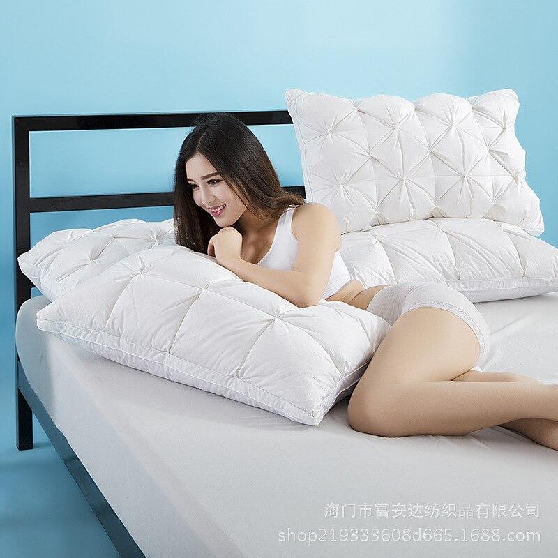 3D Bread 100% Cotton Pillow Premium Hotel Grade White Duck / Goose Down Feather Pillow Standard Antibacterial Elegant Home