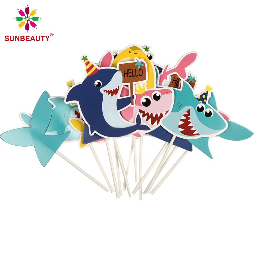 12pcs Cartoon Shark Cupcake Topper Kit Kids Boy Birthday Party Decorations Baby Shower Cute Cartoon Shark Cake Decorations