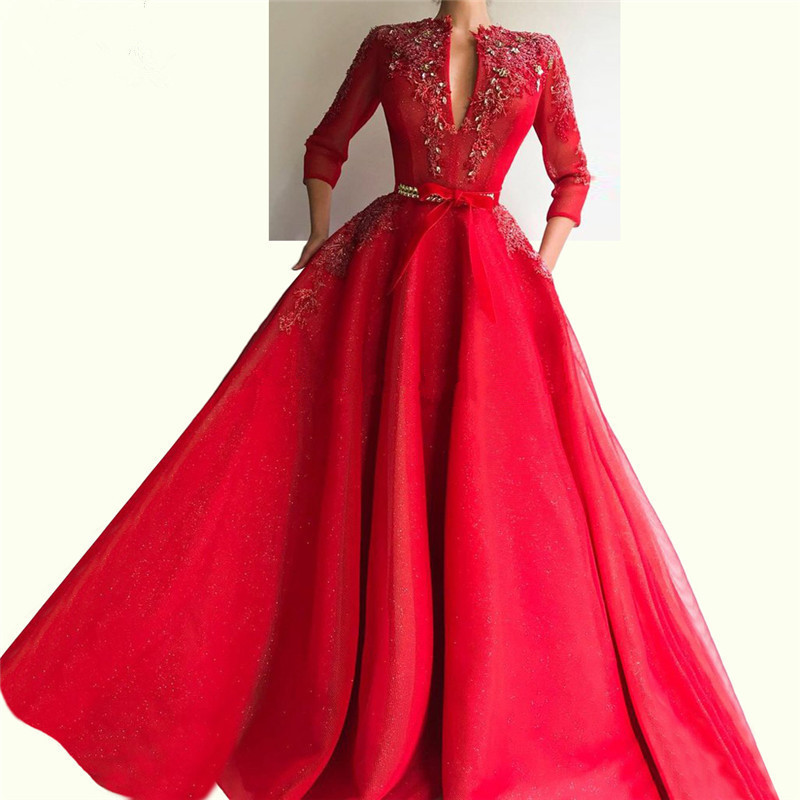 New Design Red Long Evening Dresses With Crystal And Appliques 3/4 Long Sleeve Formal Party Gowns With Sash Robe De Soiree