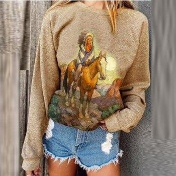 Camiseta con estampado de montar a caballo para Mujer, jersey de Manga Larga con cuello redondo, Camiseta para Mujer, Camiseta de Manga Larga