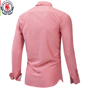 Image 2 - Fredd Marshall 2019 yeni % 100% pamuk kartal işlemeli gömlek uzun kollu iş rahat klasik elbise gömlek marka giyim 210