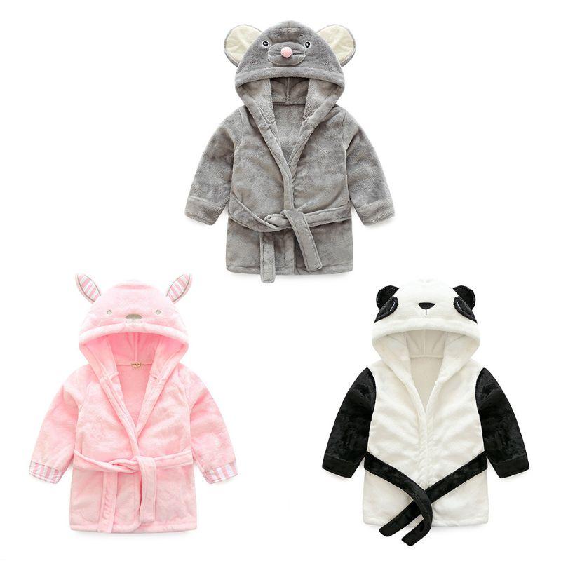 1 шт. фланелевый банный халат для новорожденных, банный халат с капюшоном для младенцев, Ночная одежда для сна, пижамы, одежда с изображением ...