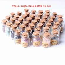 40Pcs Natural Crystal Wishing Bottles Gemstone Natural Quartz Chip Gravel Reiki Healing Birthday Gift With a Box