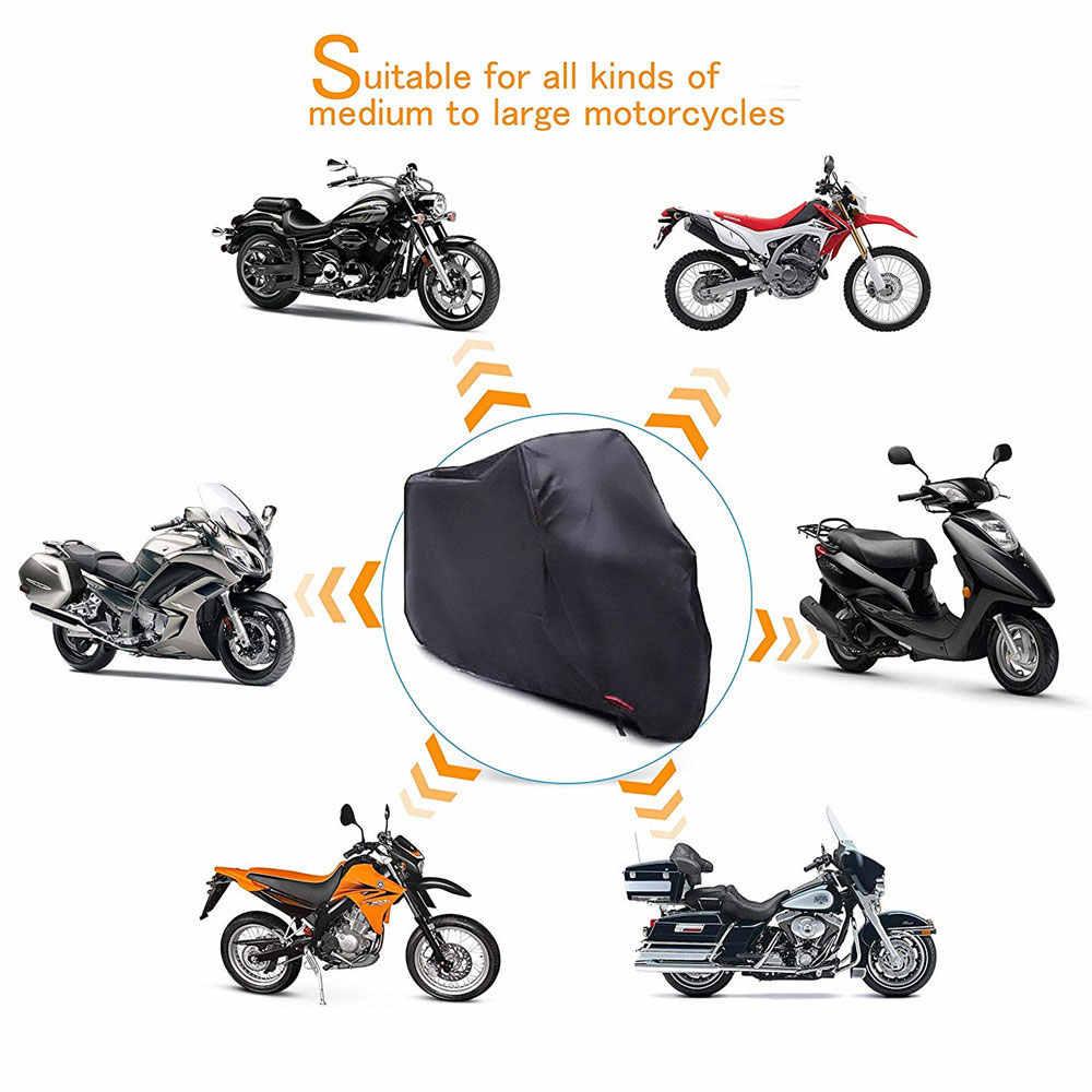 1 ชุด Universal รถจักรยานยนต์ป้องกันฝุ่นกันน้ำป้องกันสีดำ 210D Oxford ผ้า Sun ป้องกันกรณี