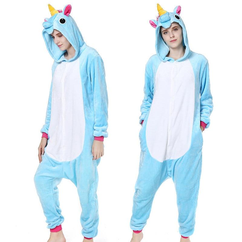 All In One Spring Warm Pyjamas Cartoon Unicorn Sleepwear One Piece Pijama Hood Sleepwear Plush Animal Pajamas For Women