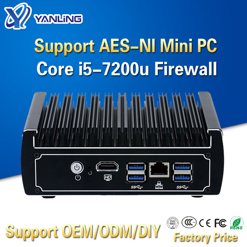 Yanling Small Home Firewall Server 6 Lan Port Intel Kaby Lake Core I5-7200U CPU Fanless VPN Pfsense Mini PC With 4 USB3.0 AES-NI