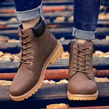 Męskie buty modne buty śniegowe buty Outdoor Casual tanie buty z drewna kochanek zimowe buty buty na platformie męskie buty ze skóry naturalnej tanie i dobre opinie siddons podstawowe CN (pochodzenie) ANKLE Stałe NONE latex okrągły nosek RUBBER Zima Mieszkanie (≤1cm) G-37 Sznurowane