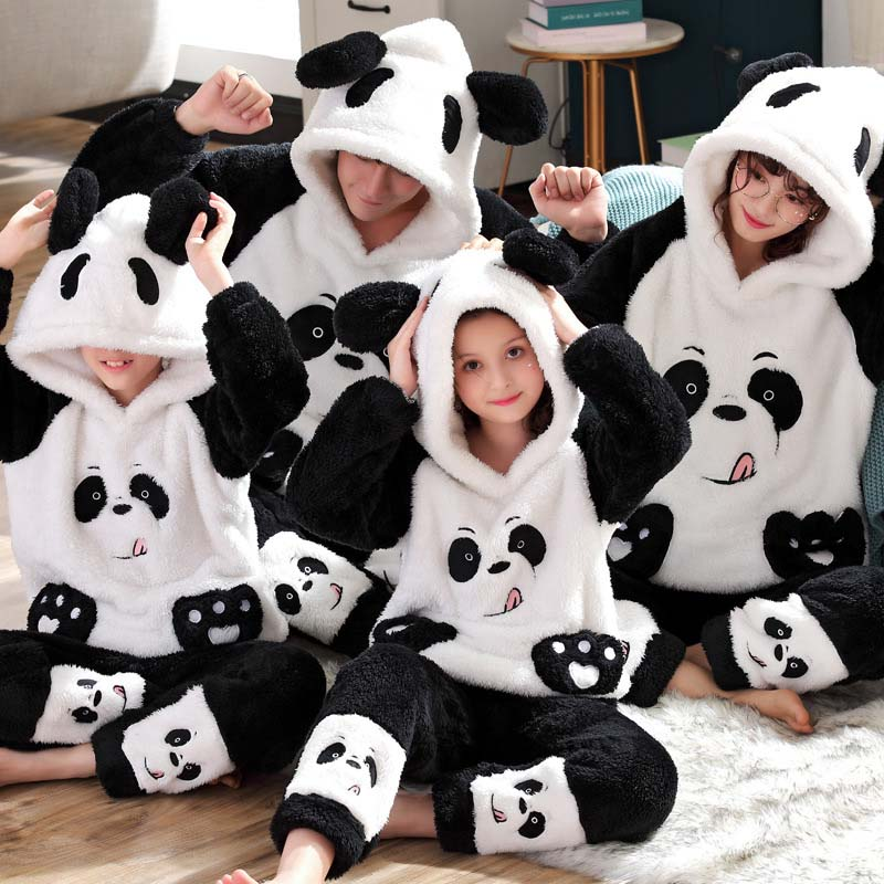 Unisex Adult Parent-child Pajamas Cute Animal Cartoon Men Pajamas Set Family Home Clothes Flannel Hooded Warm Winter Sleepwear