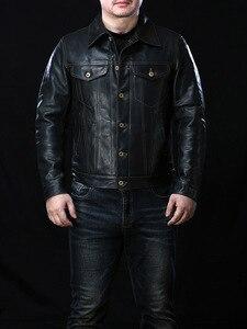 Image 2 - 年!送料無料。ヴィンテージスタイルのオイルワックスホースハイドジャケット、クラシックカジュアル557本革のコート、高品質革の服