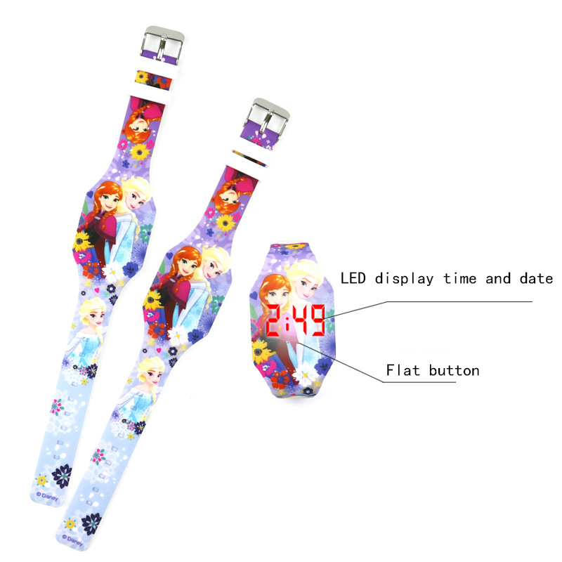 Disney Children's Digital Wristwatch Cute Cartoon Luminous Watch Kids Watches Girl Gifts LED Display Complete Calendar Silicone