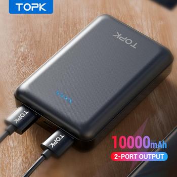TOPK Mini Power Bank 10000 mAh bateria zewnętrzna banku przenośna ładowarka Powerbank dla iPhone Xiaomi Samsung telefon komórkowy tanie i dobre opinie Bateria litowo-polimerowa Rok wybudowania kable Podwójny USB 10000mAh Do tabletu Do smartfona Micro Usb Z tworzywa sztucznego