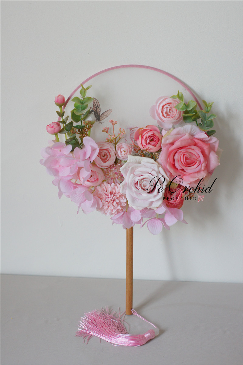 Peorchid Traditional Chinese Bridal Bouquet Fan Vintage Pink