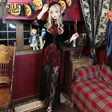 Halloween Costume Dresses Lace Adult Female Vampire Party Long Dress Ghost Bride Zombie Witch Bar For Women Black Red