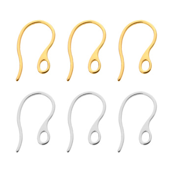 20pcs/lot 304 Stainless Steel Earring Hooks Ear Wires with Loop for Dangle Earrings DIY Jewelry Making findings Accessories 10pcs stainless steel ball studs earring pins post gold rhodium color ear stud with loop for diy accessories jewelry making z866