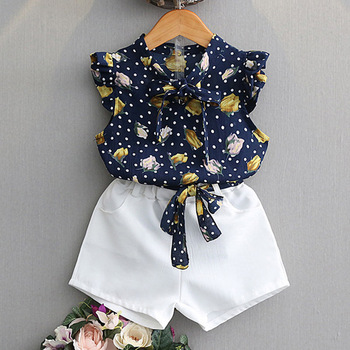Children suit 2020 summer girl Korean Sets sleeveless doll collar shirt wide leg shorts 2Pcs Clothes 2