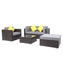 Breathable and Waterproof Cushion 5 Pieces Patio PE Wicker Rattan Corner Sofa Set Outdoor Sofa Modern Furniture