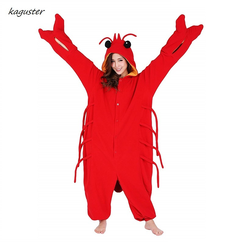 Unisex Adult Kugurumi Pajamas Halloween Party Cosplay Costume Homewear Lounge Wear Sleepwear Cos Gift Onsie Onesie Lobster