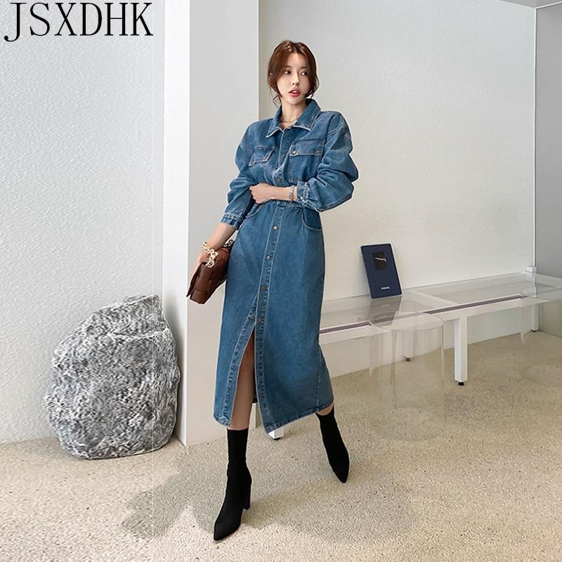 JSXDHK, новинка 2020, женское облегающее джинсовое платье в Корейском стиле, модное однобортное женское платье до середины икры с длинным рукаво...