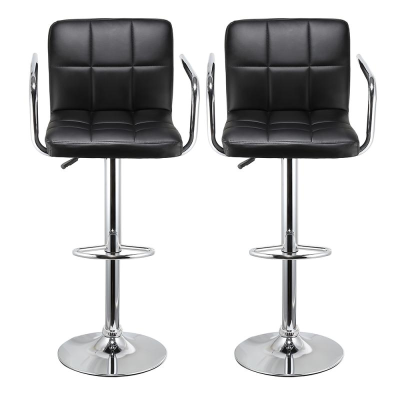 2pcs/Set Kitchen Leather Chair Stools Swivel Bar Height Adjustable Home Office Pneumatic Leisure Hand Hold Bar Chairs Stools HWC