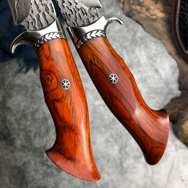Handmade Hunting Knife Damascus Steel Fixed Blade Knife Leather Sheath Dalbergia Wood Handle Outdoor Survival Camping Tool 4