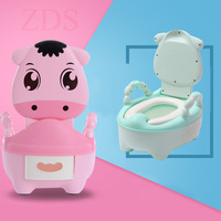 Carton Cows Portable Toilet Girls Potty Chair Children Baby Toddler Potty Training Seat Kid Plastic Bedpan Urinal Drawer Toilet