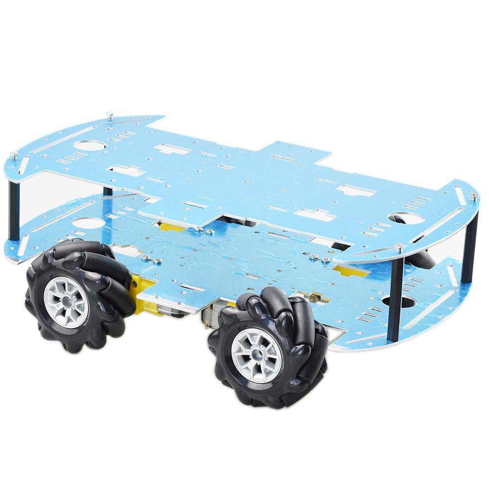 Kit de Robot de voiture Mecanum à Double plaque, pour Arduino Raspberry Pi avec 4 pièces, moteur TT, tige de programmation à bricolage-même, pièces de jouets