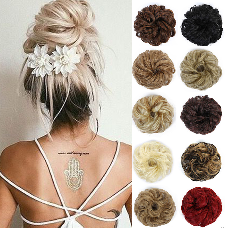 LUPU Synthetic Curly Hair Bun Scrunchie Chignon With Rubber Band  High Temperture Fiber Wrap On Fake Hair Pieces For Women