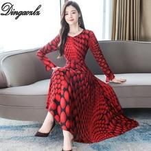 Dingaozlz Vintage Printed dresses Flare sleeve long Chiffon dress Slim Plus size Red Yellow Women Vestidos