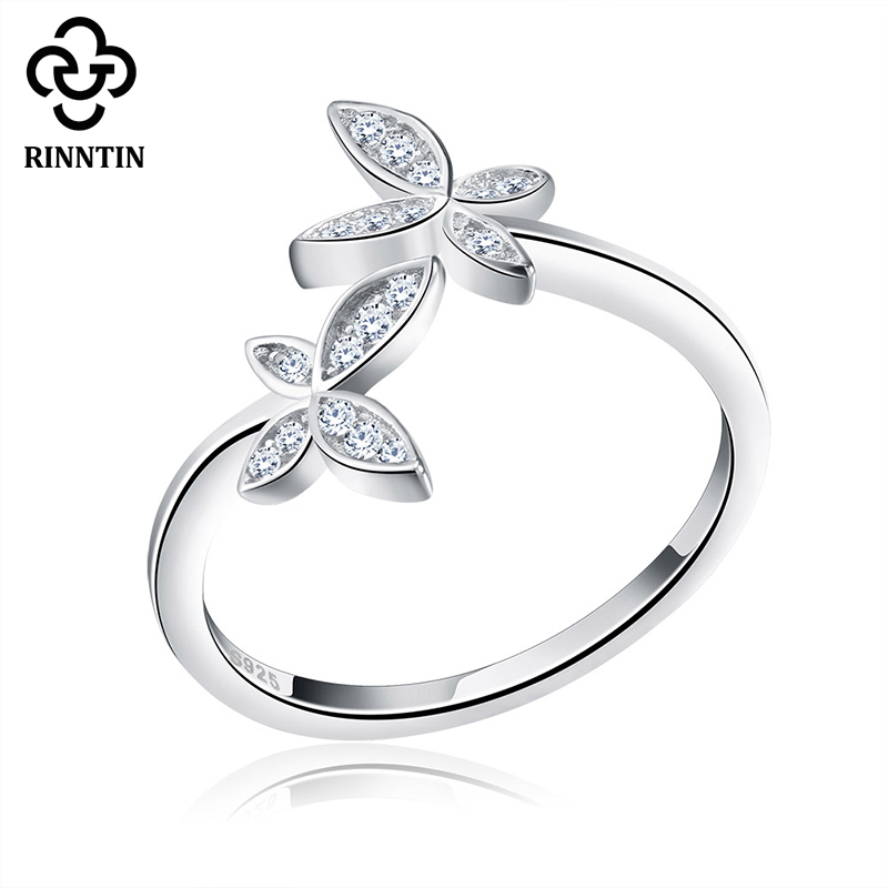 New Arrival Pure S925 Sterling Silver Band Women Cute Flower Open Ring