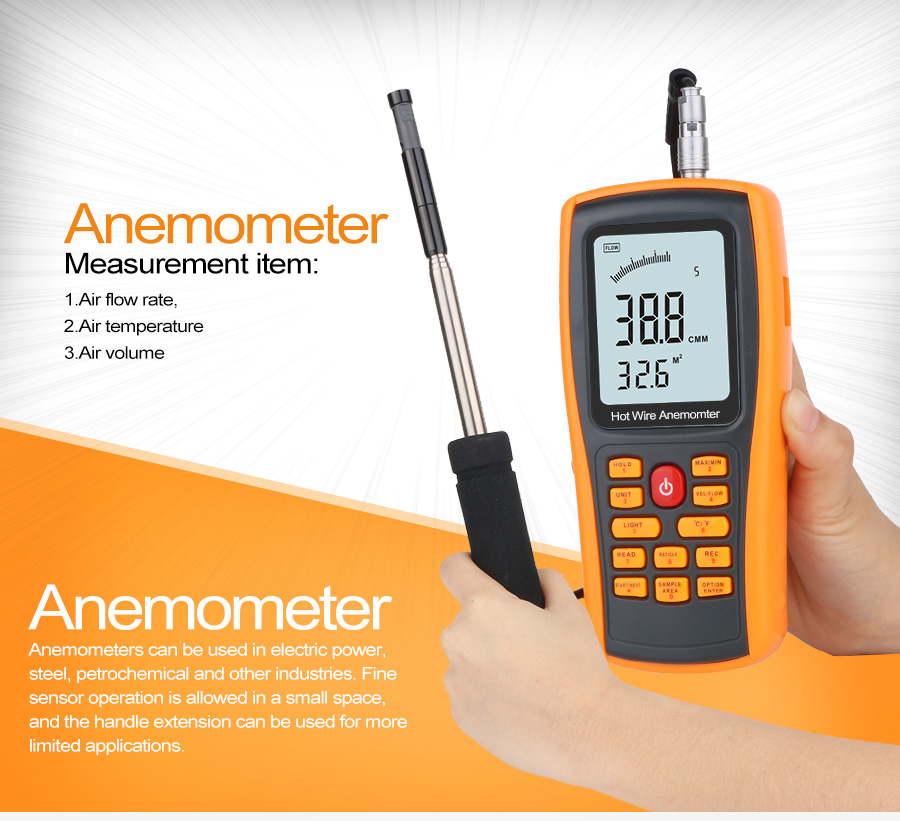 GM8903 Wind Speed Meter Long Proble Hot Wire Anemometer With 350 Groups Data Logging And PC Software