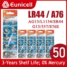Eunicell 50PCS LR44 AG13 303 A76 357 SR44 Button Battery SR44SW V13GA for Watch Calculators Toys 1.5V 155mAh Coin Cell Batteries