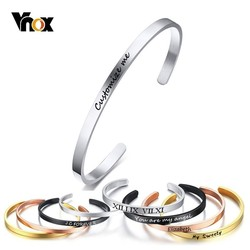 Vnox Free Personalised Gifts ID Bangles For Lovers' Engrave Name Stainless Steel Cuff Bracelets & Bangles Women Mens Jewels